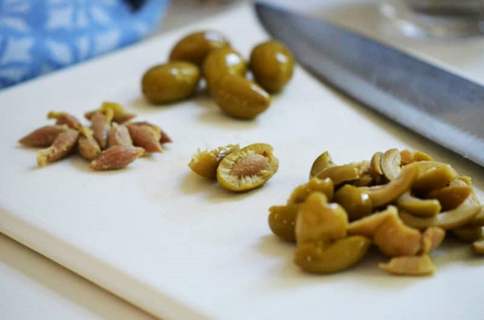 Pitting Olives with Knife