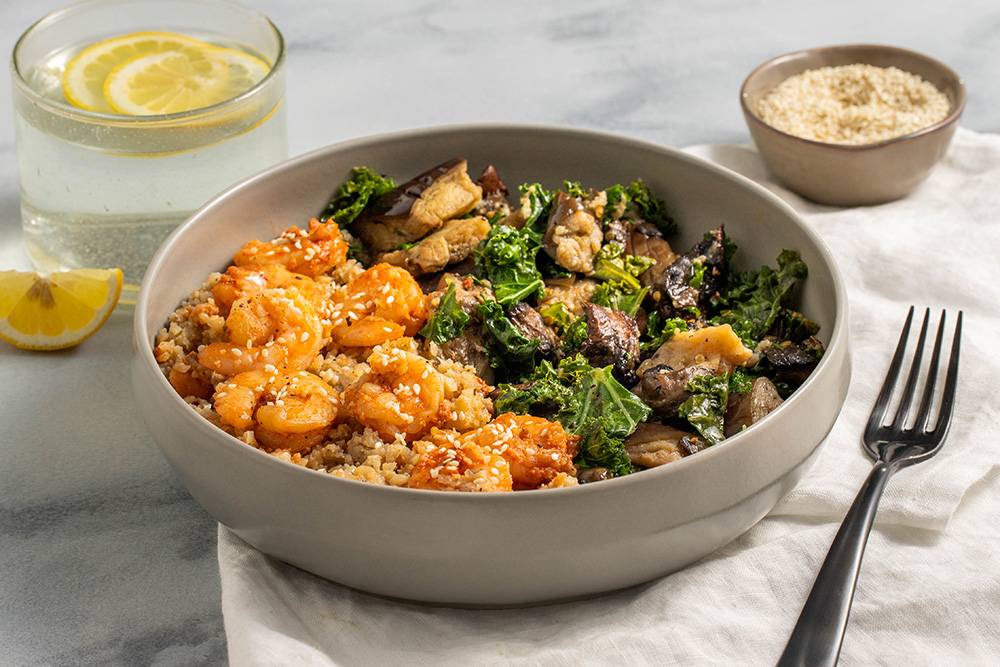 Sustainable Shrimp And Grits With Sesame Kale