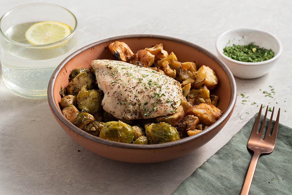 Herbed Lemon Cage Free Chicken With Brussels Sprout