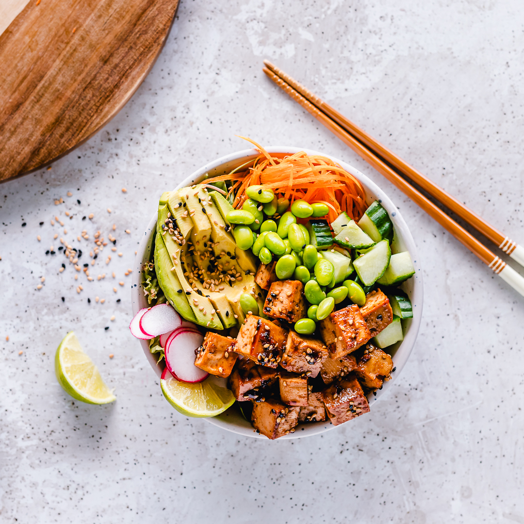 Vegan tofu poke bowl recipe