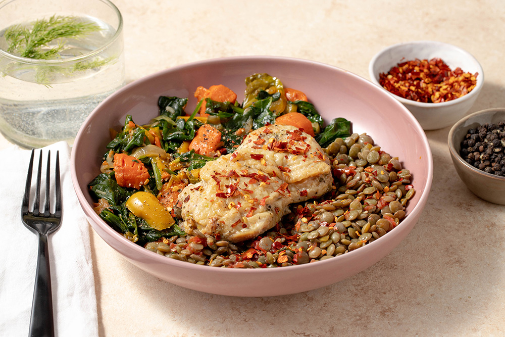 Lentil Bowl With Pumpkin Seeds And Cage Free Chicken Thigh