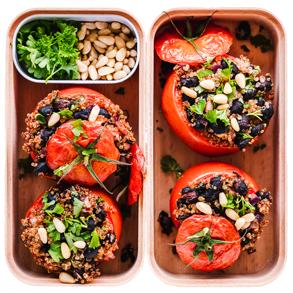Vegan spicy stuffed tomatoes