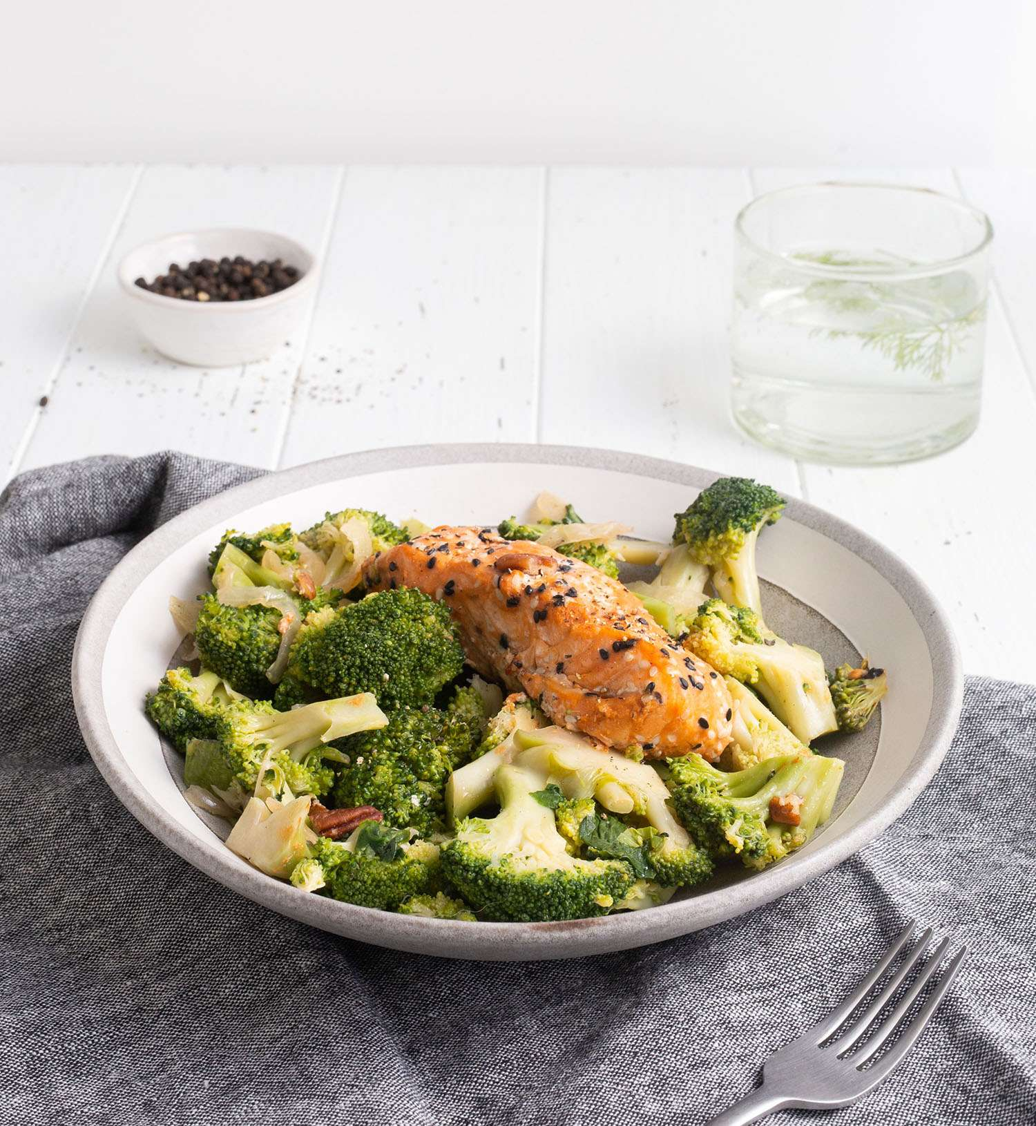 Prepared salmon broccoli meal
