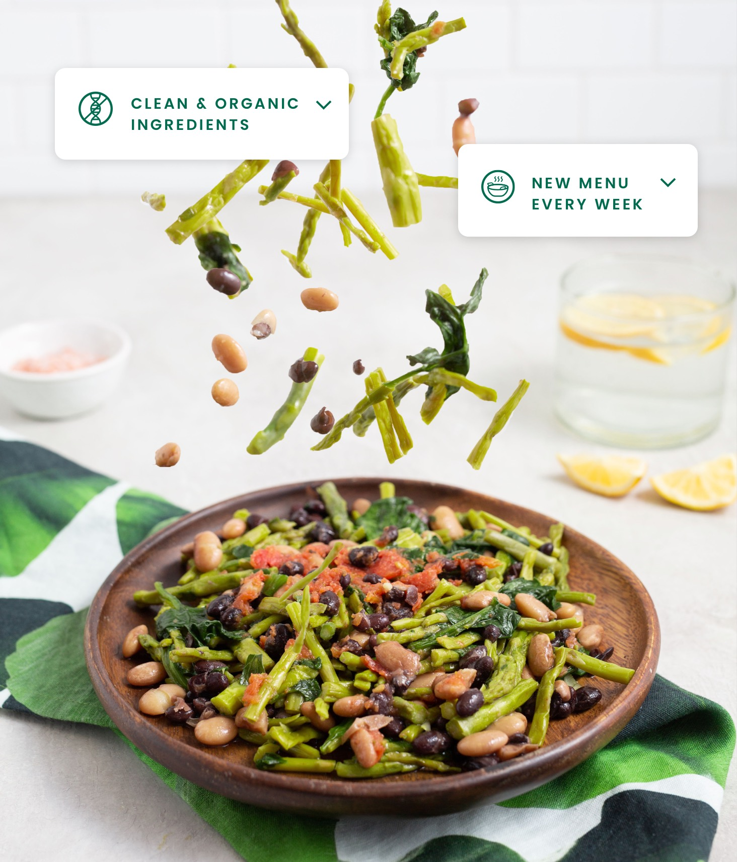 Asparagus vegan dish with beans