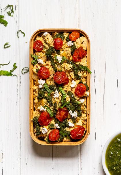 Vegan tomato basil pesto tofu scramble