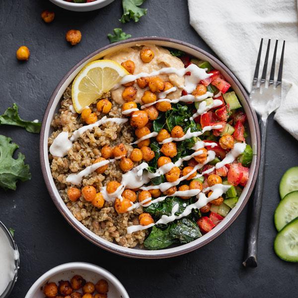 Vegan Mediterranean protein bowls